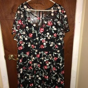 Lane Bryant black and red floral dress.